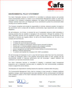 FAFS Environmental Management Policy